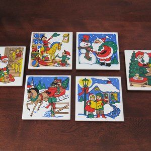 Ceramic Holiday Trivets, Coasters, Wall Hangings, Made in Taiwan, Made in 1980s